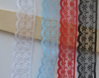 Wholesale Lot   20YDS black White ,red, Blue Lace Trim DIY Sewing gift wrapping  2.5cm 1inch