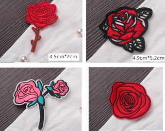 Wholesale lot 80pcs red Rose    embroidered   iron  on patch  DIY
