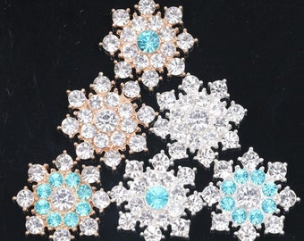 Wholesale  bulk lot  120pcs  Rhinestone  buttons Golden silver  Metal Flatback Embellishment , Wedding bouquet  28 mm