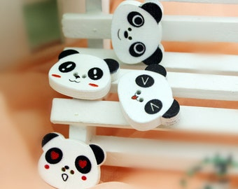 Wholesale bulk lot  100pcs/lot cartoon panda  wood button , DIY sewing  about  2.3x1.8cm