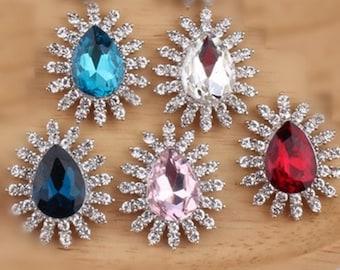 Wholesale bulk lot  50pcs Rhinestone  Metal Flatback Embellishment Crystal, Wedding bouquet  27x32cm