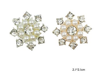 Wholesale bulk lot 100pcs Pearl  Rhinestone buttons Metal Flatback Embellishment  , Wedding bouquet  21mm