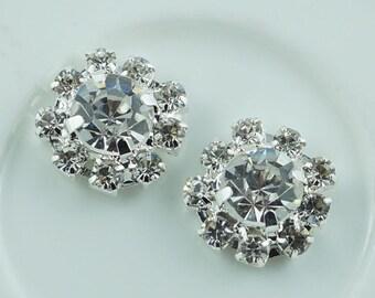 Wholesale bulk lot  150pcs  silver  Rhinestone buttons Metal Flatback Embellishment Crystal, Wedding bouquet  1cm