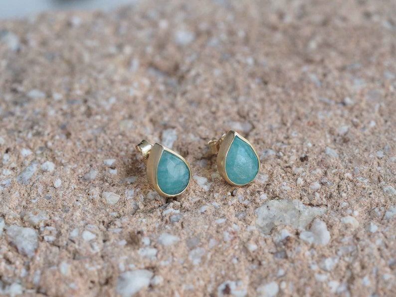 Pear Amazonite Studs set in 9ct Yellow Gold  Contemporary Earring Design  Handmade in Cornwall
