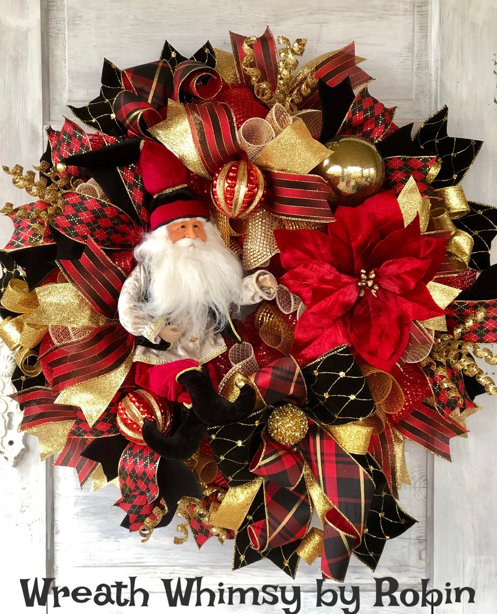 Christmas Wreath Santa Claus Wreath Elegant Christmas Etsy