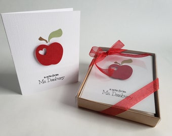 Personalized folded notecards for teachers. Notecards . Personalized stationery. Teacher Gift Idea.