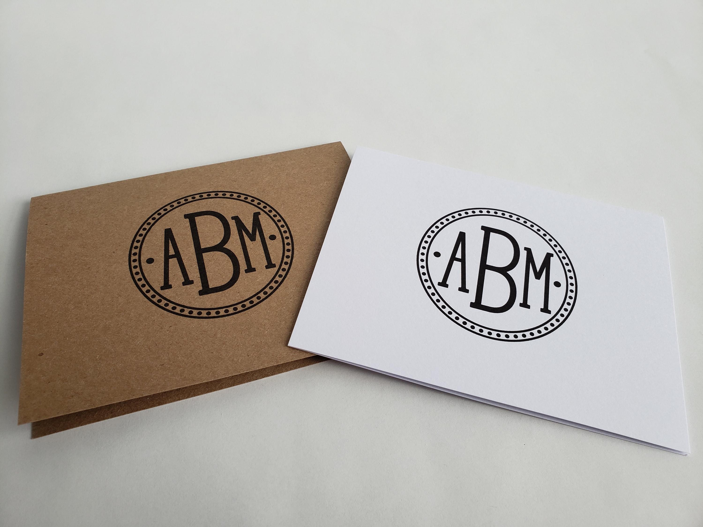 Teacher Gift Idea. Monogram stationery Personalized stationery Set of 12 monogram folded notecards Notecards