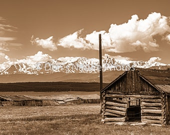 Mt. Elbert (left) and Mt. Massive (right), the two highest peaks in Colorado. Sepia tone. 12 X 36 #4025