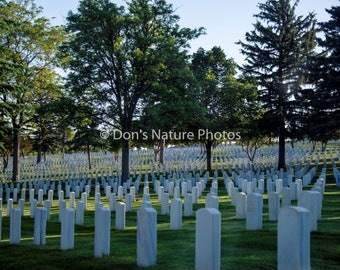 Santa Fe National Cemetery in the early morning light. 12 X 18 #3022