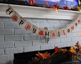 Happy Halloween Banner, Halloween Sign, Burlap Banner, Halloween Bunting, Halloween Garland, Holiday Decoration, Rustic Home Decor Banner,