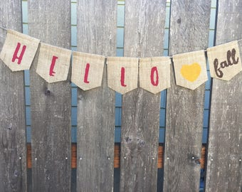 Hello Fall Banner, Fall and Autumn Bulap Banner, Thanksgiving Decor, Fall Bunting, Happy Fall Yall, Home Decoration, Rustic Decor Sign