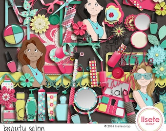 Beauty Salon digital scrapbook elements