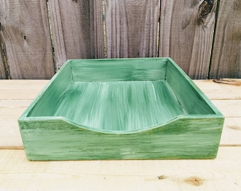 mens office decor. Hand Painted Green Letter Size Desk Top Paper Tray For Rustic Office Decor, Mens Distressed Decor N