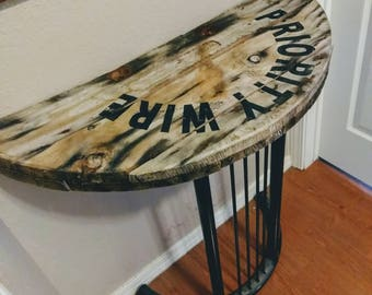 Upcycled Entry Table Half Round Recycled Decor Reclaimed Wood Repurposed Wire Spool Furniture Industrial Man Cave Decor