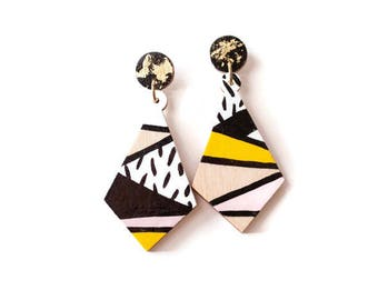 Geometric stud earrings - Unique earrings - Dangle stud earrings - Statement jewelry - Color block earrings - Geometric earrings