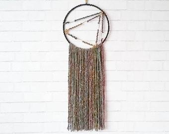 Dark Dream Catcher / Yarn Wall Hanging / Fringe Wall Art / Black Modern Dreamcatcher / Boho Teen Room / Minimalist Boho Decor