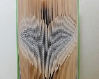 Folded Book Art - Heart inverted - Unique present