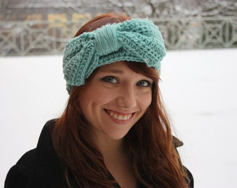 Headband with bow in Mint Green