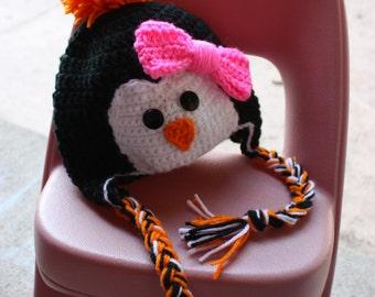 Penguin hat - baby girl hat - crochet