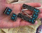 Vintage Navajo Sterling Silver Turquoise Twisted Wire Rope Ranger Belt Buckle Set Handmade Western
