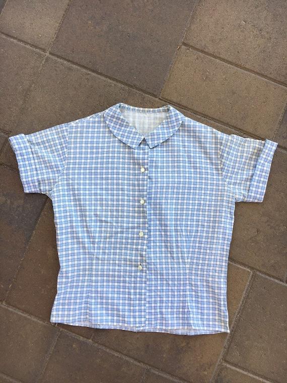 Vintage 1930s 1940s Shirt Cotton Button Up Short S