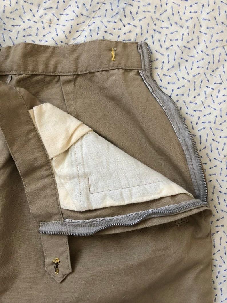Vintage 1950s 50s Khaki Side Zip Shorts Utility Tan Beige High Waist