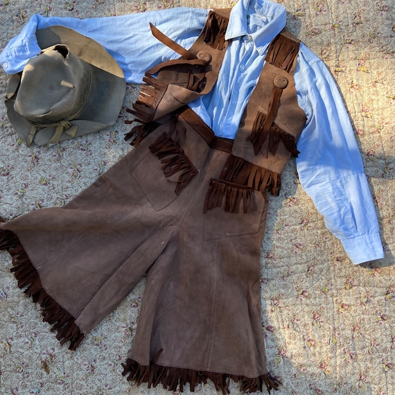 Vintage 1940s Cowgirl Leather Culottes Two Piece V