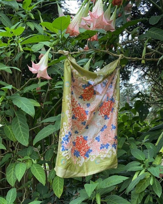Vintage 1920s 1930s Pongee Silk Floral Scarf Wrap