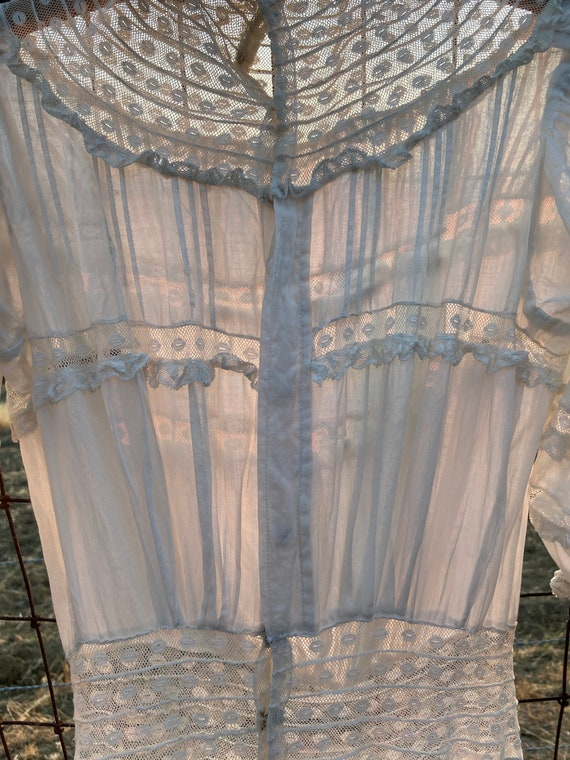 Antique Edwardian Cotton Lawn Dress Standing Coll… - image 8