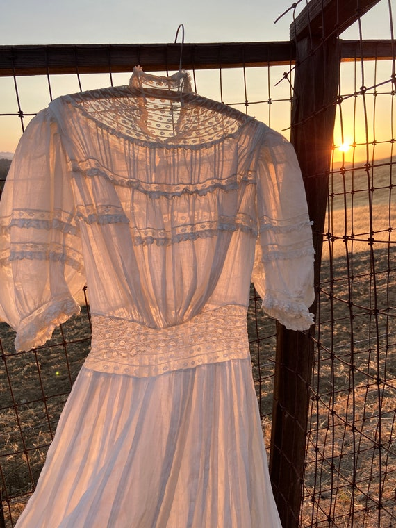 Antique Edwardian Cotton Lawn Dress Standing Coll… - image 4