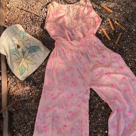 Vintage 1930s Beach Pyjamas Silk Floral Lounge Set