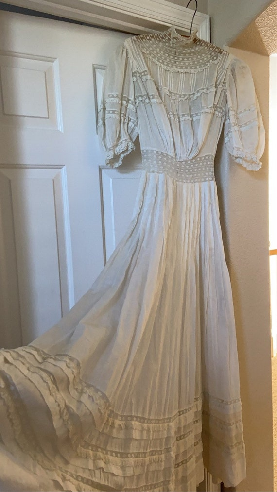 Antique Edwardian Cotton Lawn Dress Standing Coll… - image 3