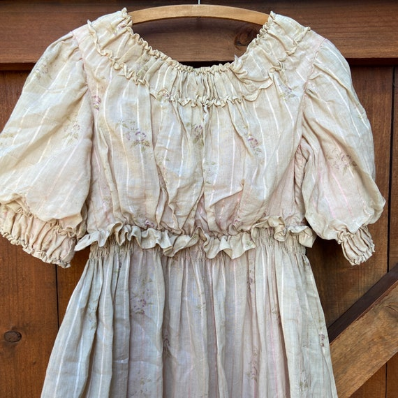 Antique Victorian 1860s Fine Printed Floral Muslin