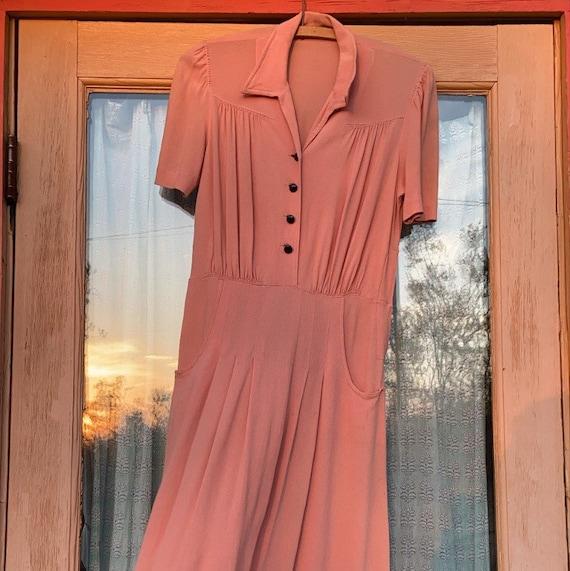 Vintage 1930s Rayon Crepe Dress Pale Pink Button F