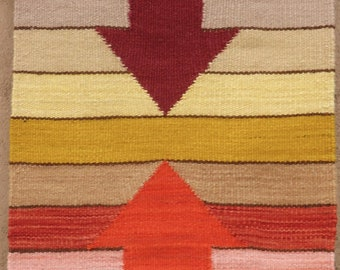 Modern weaving by Gloria Montoya, 15 x 30inch handwoven wool using mixed natural & commercial dyed yarns, 4062109