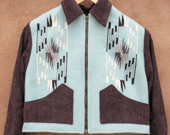 Chimayo style jacket, handwoven wool body w/commercial dyes, corduroy sleeves sleeves & trim, waist buckles Size 36 4062140