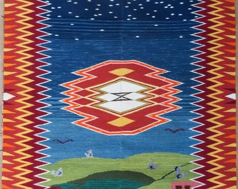Modern pictoial  Saltillo style weaving by Emily Trujillo, 40 x 60 inch handwoven wool using mixed dyed yarns Timeless Enchanment
