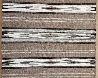 Concrete Greys, Lisa Trujillo, 48x72 Rio Grande blanket, handwoven, handspun, churro wool, natural undyed yarns