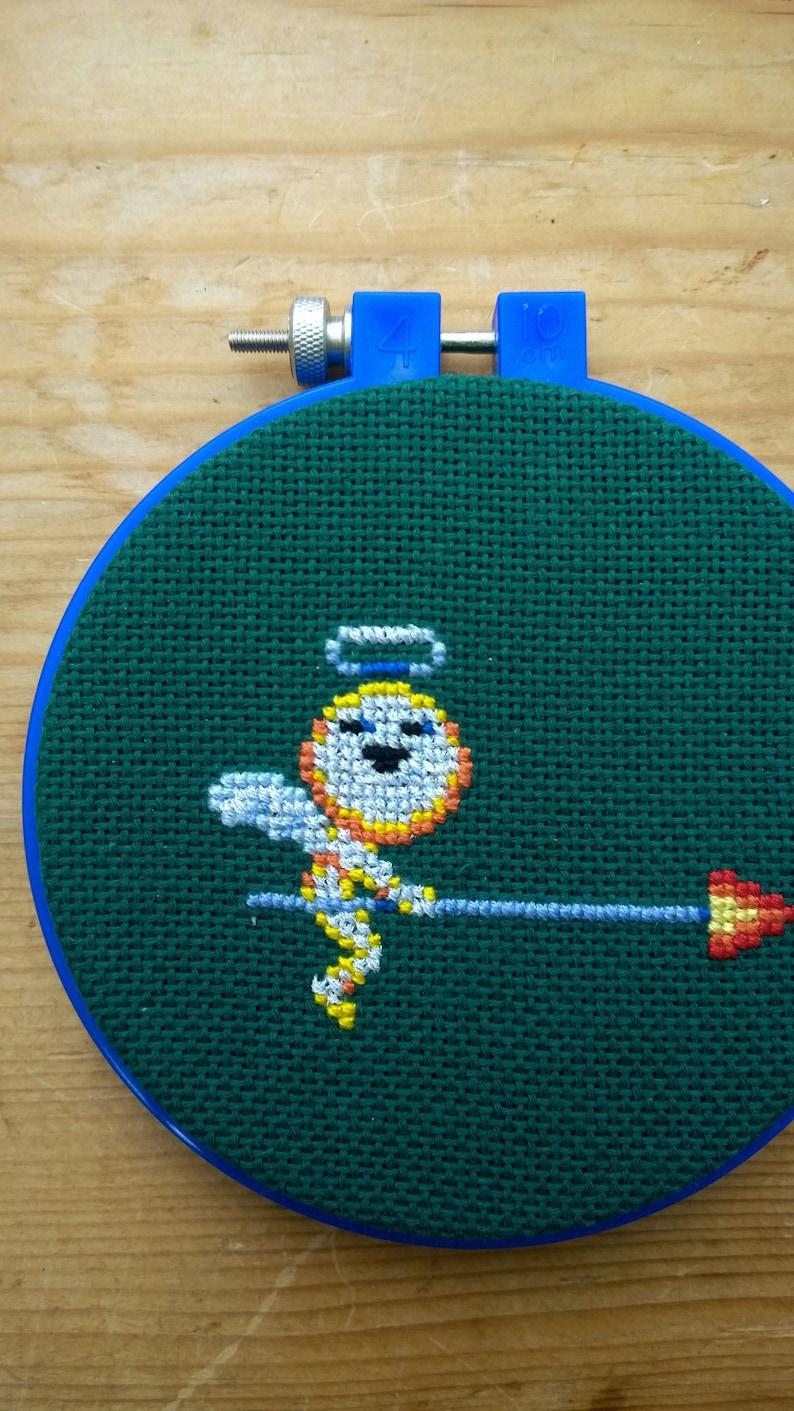 Pixel Cross Stitch Dynamite Headdy Beau Right Hoop Framed Video Game Art Craft Sega Arcade Nostalgia Geek Nerd Decor Target
