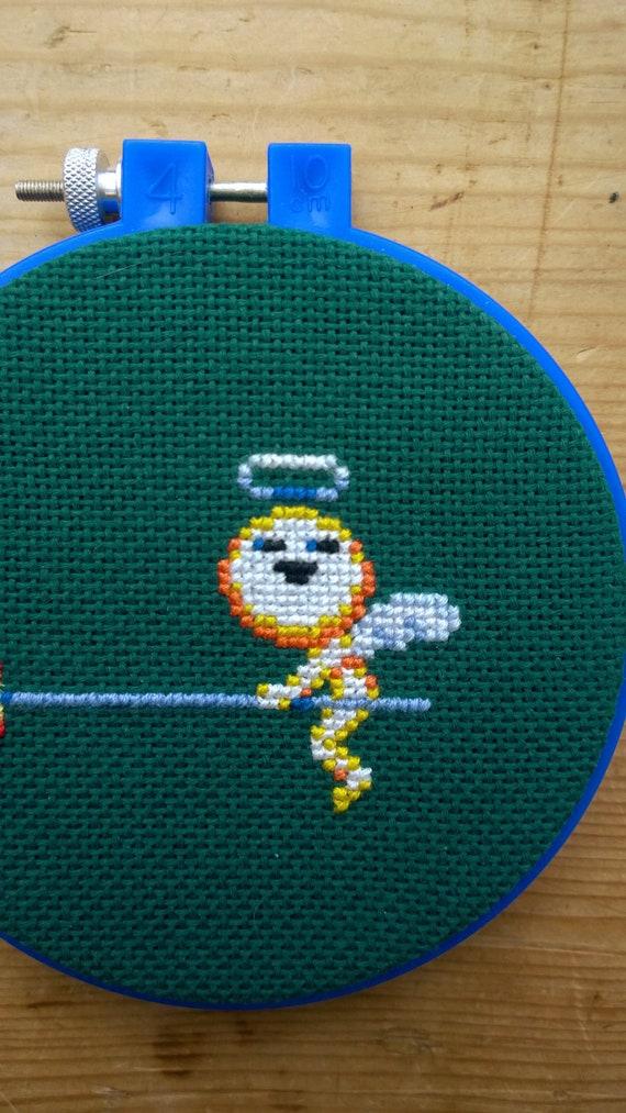 Pixel Cross Stitch Dynamite Headdy Beau Left Hoop Framed Video Game Art Craft Sega Arcade Nostalgia Geek Nerd Decor Target