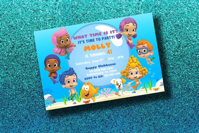 Bubble Guppies Invitation- Bubble Guppies Evite- Bubble Guppies Birthday  Party - Bubble Guppies Printable- Molly Gil Goby Deema Oona Nonny