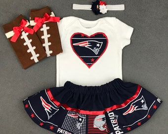 ecb30d1804f NEW ENGLAND PATRIOTS inspired infant baby girl 4 piece outfit. skirt