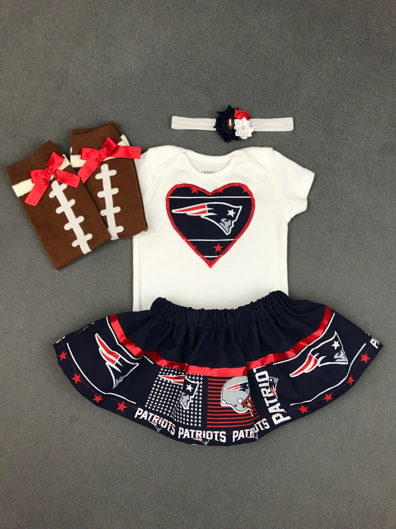 0f3e2a78 NEW ENGLAND PATRIOTS inspired infant baby girl 4 piece outfit. skirt,  onesie, headband, leg warmers. 3 month 6 month 9 month 12 month
