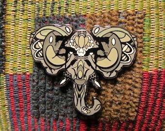ZD Inspired Sugar Skull Gray Elephant Spirit Animal Lapel Hat Pin