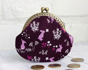 Coin Purse, Bunny purse, Metal frame change purse, small Coin Purse wallet, woodland print pink rabbits purse, Gift for her, back to school