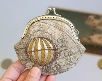 Coin Purse air balloons, Metal frame change purse, Coin Pouch, small coin purse Wallet, Change purse, Coin Purse Clasp, anniversary gift