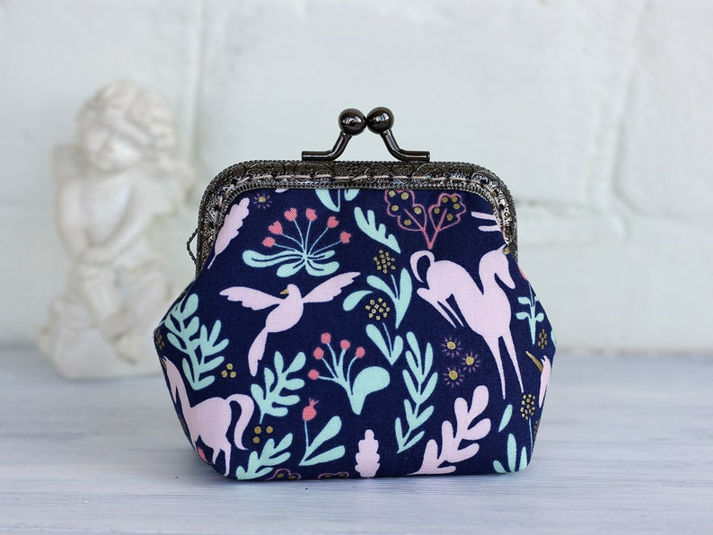 808ad8e0a14a Unicorn Coin Purse Kiss lock Metal frame Pink Blue Change purse small Coin  wallet woodland unicorn Cotton Steel Magic Metallic Navy Folk