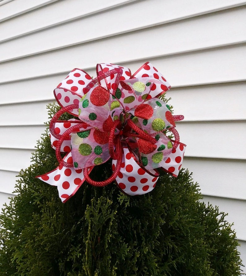 Red White And Green Polka Dot Christmas Tree Bow Tree Topper Wreath Bow Garland Decor!