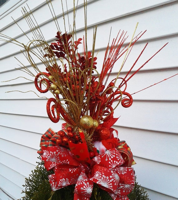 Red And Gold Christmas Trees: Red And Gold Christmas Tree Topper Holiday Tree Decoration