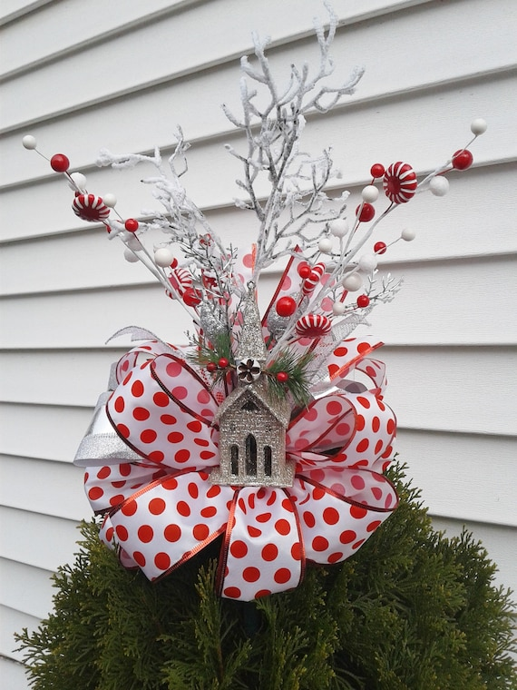 Red And White Christmas Tree Topper Bow Holiday Tree Etsy